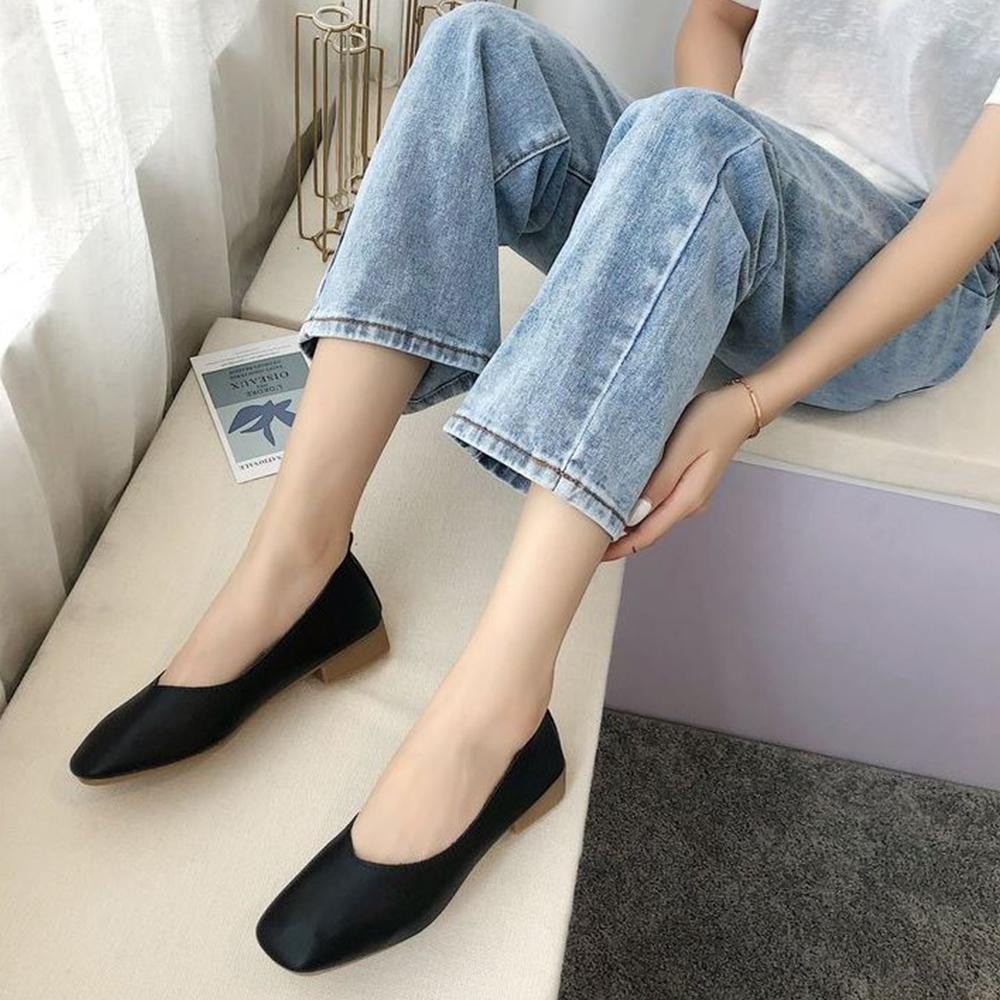LN 現+預 經典款方頭低跟包鞋-4色 (黑色)