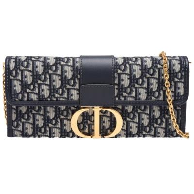 Dior 30 MONTAIGNE系列經典OBLIQUE緹花布小牛皮飾邊手拿/斜背包(藍)
