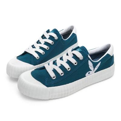 PLAYBOY 彩糖電繡兔頭帆布鞋-藍-Y5706FF