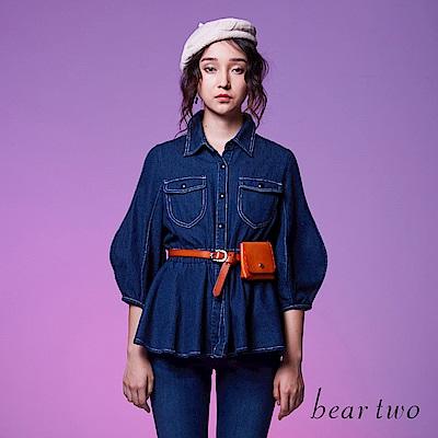 beartwo 時尚優雅特殊袖型百搭丹寧外套(深藍色)