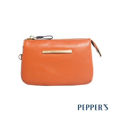 PEPPER S Ellie 羊皮三層零錢包 - 艷陽橘