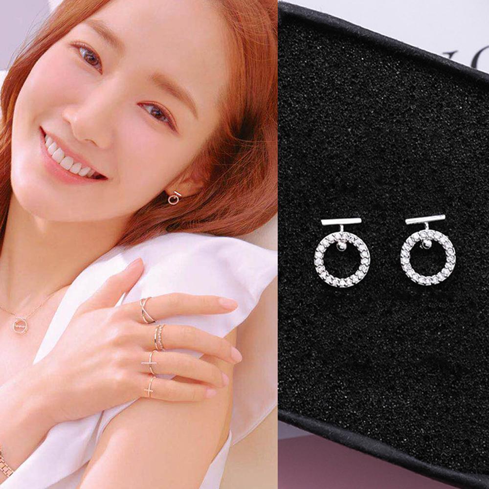 梨花HaNA 韓國925銀針金秘書為何那樣點鑽圓飾耳環