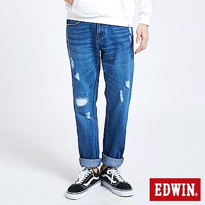 EDWIN 503補釘加工直筒牛仔褲-男-中古藍