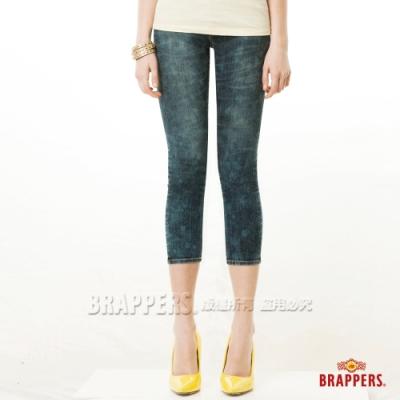 BRAPPERS 女款 新美腳Royal系列-彈性七分反摺褲-雪花深藍
