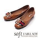 Fair Lady Soft芯太軟 輕奢華金框雙色帶方頭平底鞋 棕