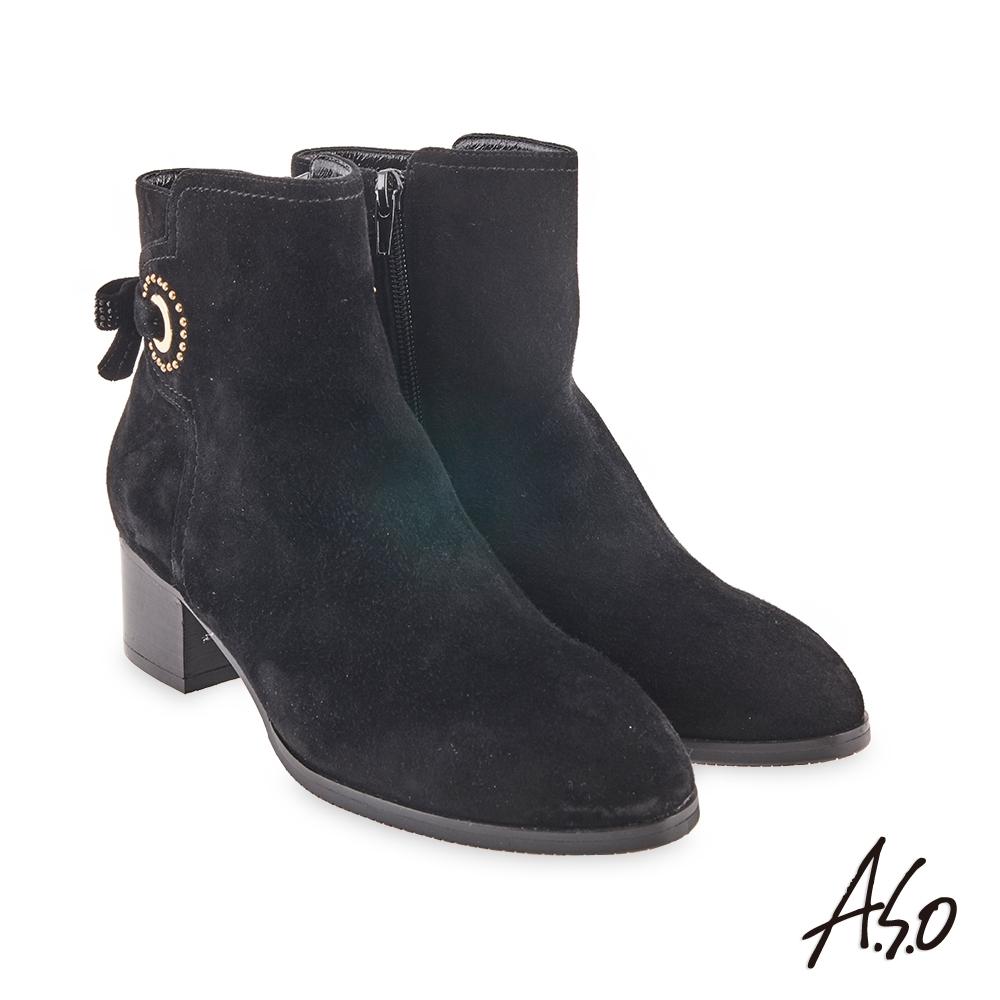A.S.O  時尚流行 燙鑽蝴蝶結鉚釘真皮短靴-黑