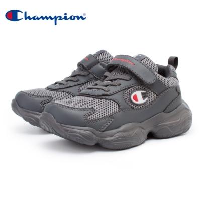 【Champion】VELCRO 運動童鞋 透氣網布 大童鞋-灰(KSUS-0363-22)