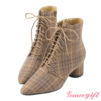 Grace gift X Rui-聯名綁帶尖頭中跟短靴 千鳥紋