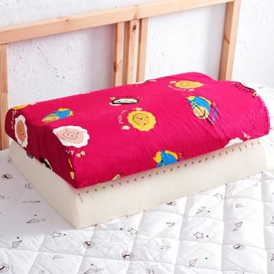 奶油獅 同樂會系列-乳膠記憶大枕專用100%純棉工學枕頭套(莓果紅)四入