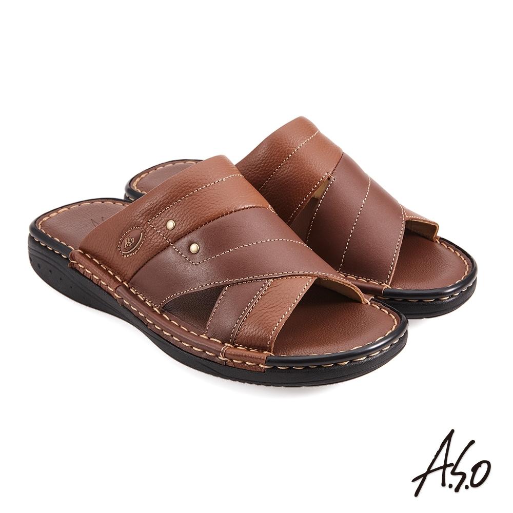 A.S.O 手縫氣墊厚底縫線休閒男拖鞋-茶色