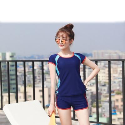 Biki比基尼妮泳衣,開朗少女學生泳衣有加大泳衣二件式泳衣(深藍M-4XL)
