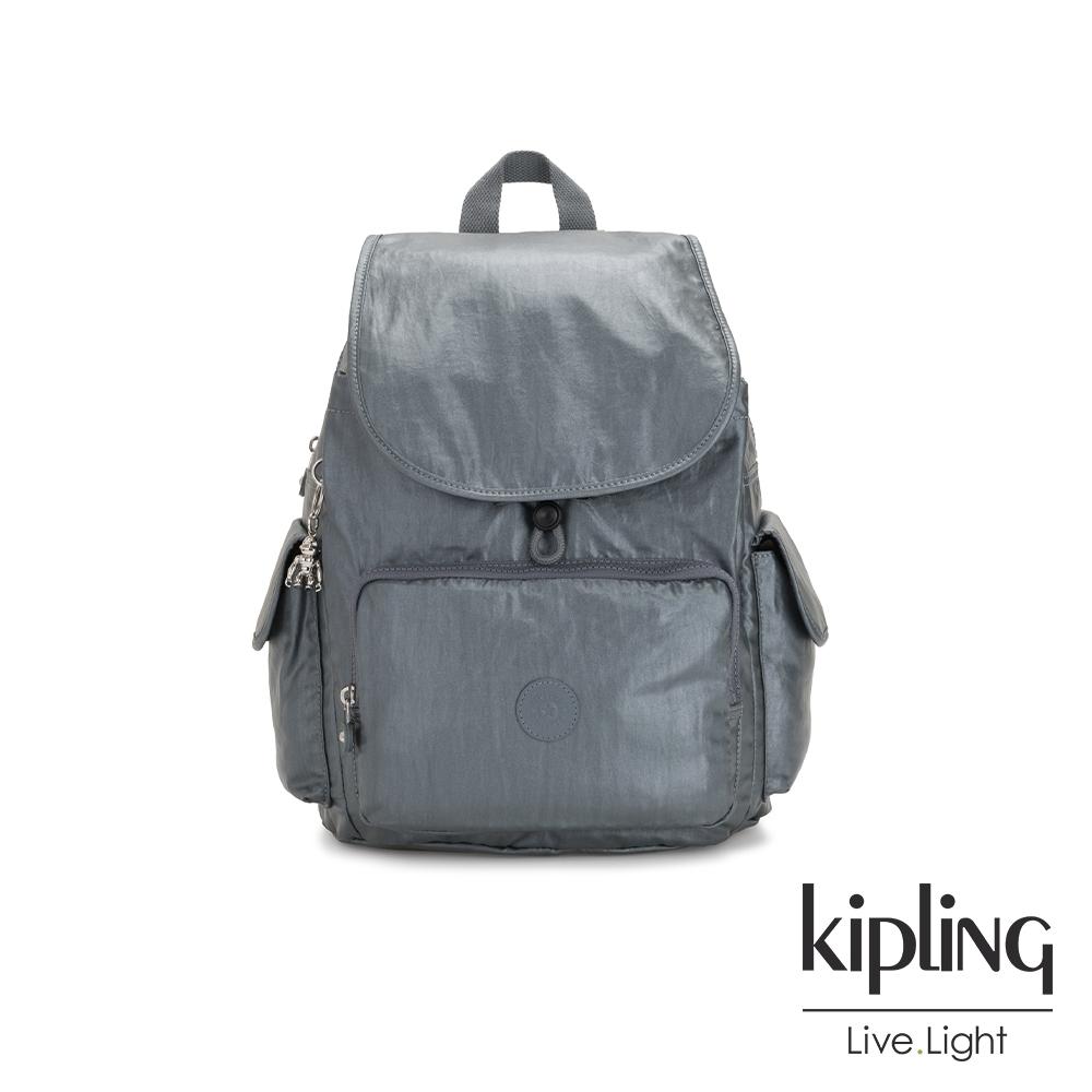 Kipling 未來科技灰拉鍊掀蓋後背包-CITY PACK