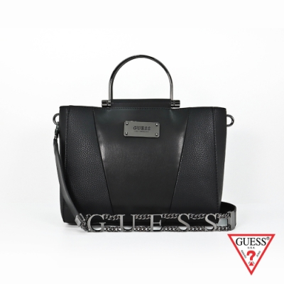 GUESS-女包-簡約素面拼接手提包-黑