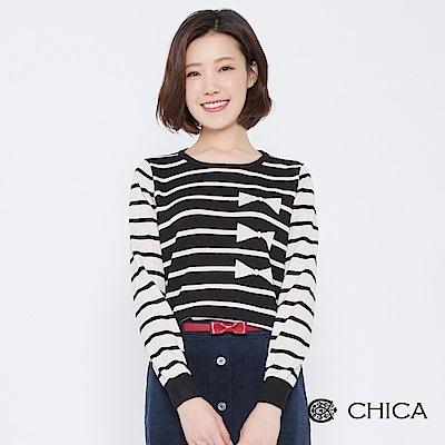 CHICA 青春萬歲撞色蝴蝶結條紋針織衫(2色)