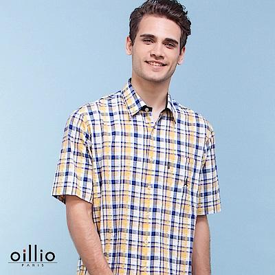 歐洲貴族oillio 短袖襯衫 泡泡棉布料 亮眼格紋 黃色