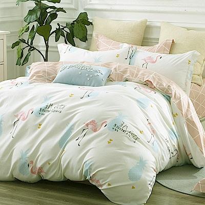 La Lune 台灣製100%40支精梳純棉雙人床包被套四件組 鶴卡