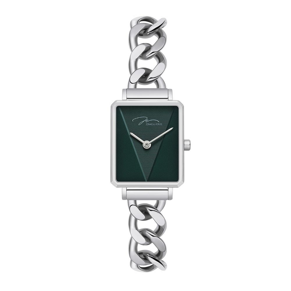 J&V -執我系列 方形不鏽鋼鍊條式女錶 J33.12.WNSW