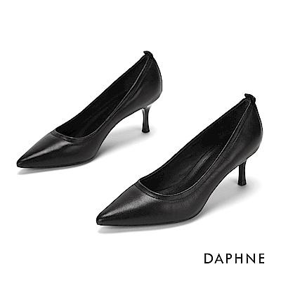 達芙妮DAPHNE 高跟鞋-質感羊皮尖頭高跟鞋-黑
