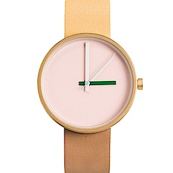AÃRK 時尚早安城市真皮革腕錶 -淺粉色/38mm