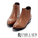 Fair Lady 簡約率性皮革百搭短靴 焦糖