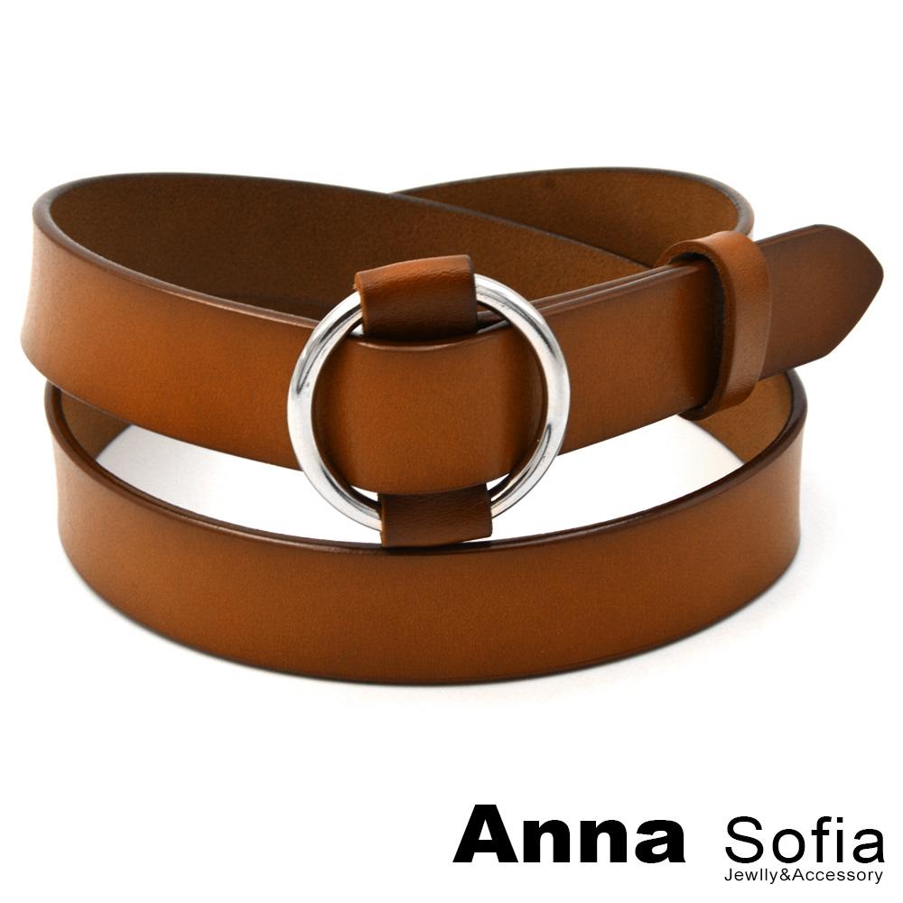AnnaSofia 圓釦穿繞無針式 二層牛皮腰帶皮帶(棕駝)