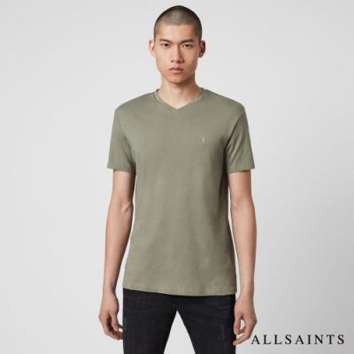 ALLSAINTS TONIC 經典公羊頭刺繡合身V領純棉短袖T恤-橄欖綠