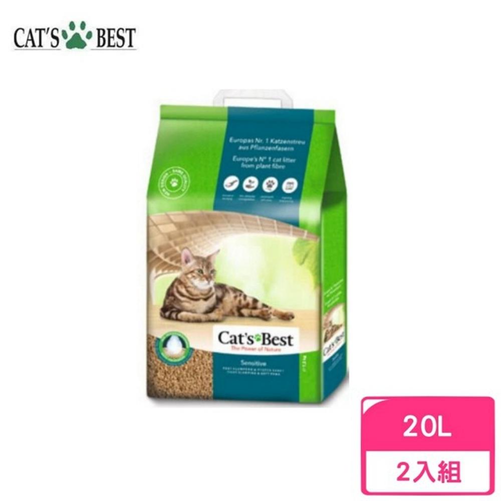 德國凱優Cat′s Best-強效除臭凝結木屑砂(黑標凝結型) 20L/7.2kg 兩包組