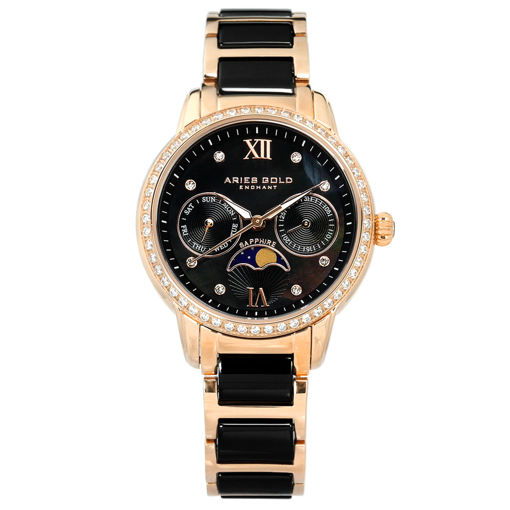 ARIES GOLD 月相錶 日期星期 陶瓷不鏽鋼手錶-黑x鍍玫瑰金/34mm