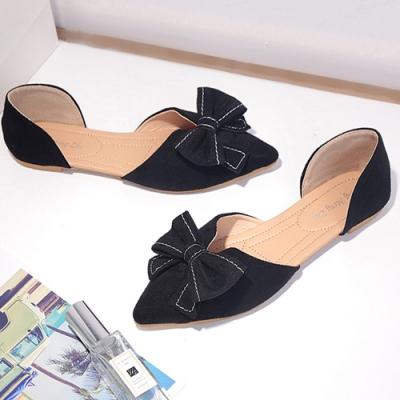 KEITH-WILL時尚鞋館 美型英倫風蝴蝶結平底尖頭鞋-黑