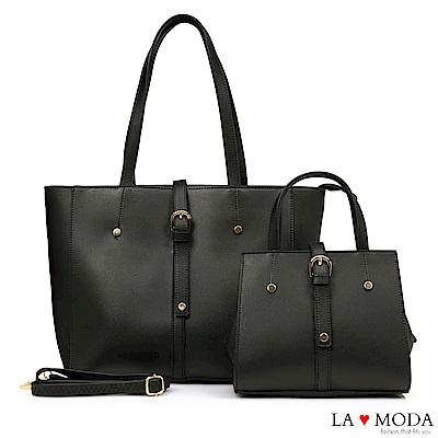 La Moda 質感魅力大容量釦飾子母包托特包(黑)