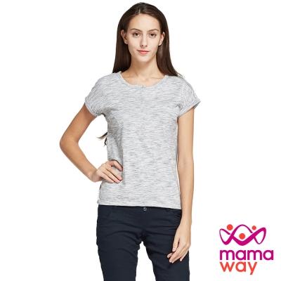 孕婦裝 哺乳衣 大理石紋雪紡剪接哺乳上衣(共二色) Mamaway
