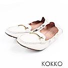 KOKKO -笑眼彎彎柔軟羊皮莫卡辛便鞋-白百合