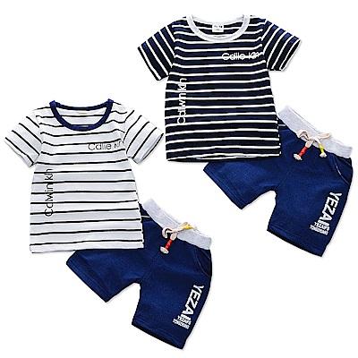 JoyNa 童裝短袖襯衫CD條紋衣服童褲套裝