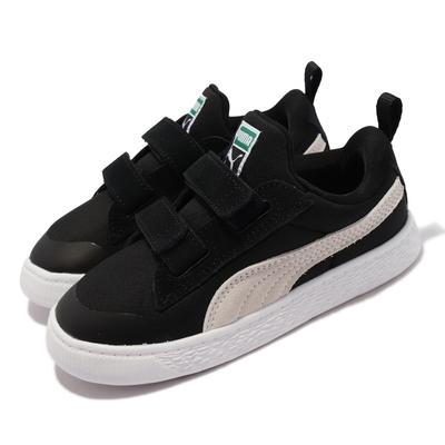 Puma 休閒鞋 Suede Light Flex V 童鞋 魔鬼氈 好穿脫 柔軟 彈性 麂皮 小童 黑 白 380732-01