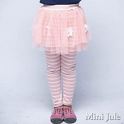 Mini Jule 褲子 網紗立體蕾絲花朵珠珠條紋棉褲(粉紅)