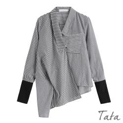 不對稱拼接條紋上衣 TATA-(S~L)