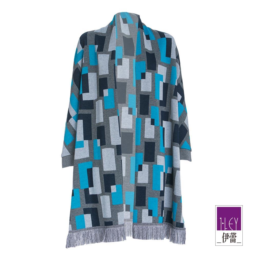 ILEY伊蕾 時尚簡約幾何連袖外套(藍)