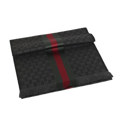 GUCCI LOGO絲羊毛綠紅織帶流蘇披巾(深灰)
