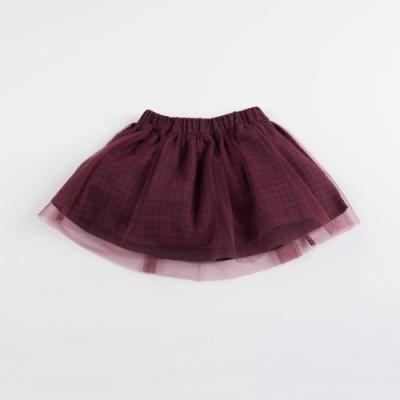PIPPY-氣質網紗格紋短裙-紅