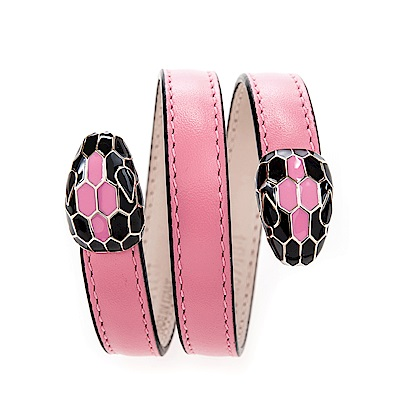 BVLGARI 寶格麗 Serpenti系琺瑯雙蛇頭環繞式手環 (糖果石英色/S)