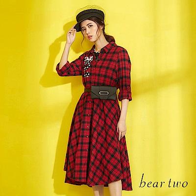 beartwo 經典英倫風格紋休閒洋裝(紅色)