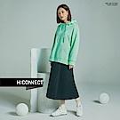 H:CONNECT 韓國品牌 女裝-亮眼圖樣側開岔帽T-綠