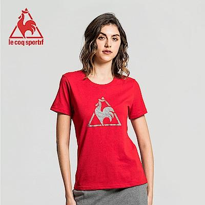 le coq sportif 法國公雞牌經典圓領LOGO印花短袖T恤 女-暗紅