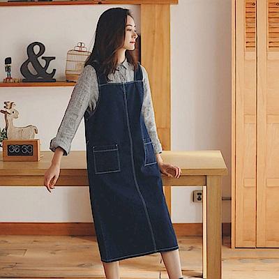洋裝-全棉側拉鍊牛仔吊帶裙/設計所在XK353