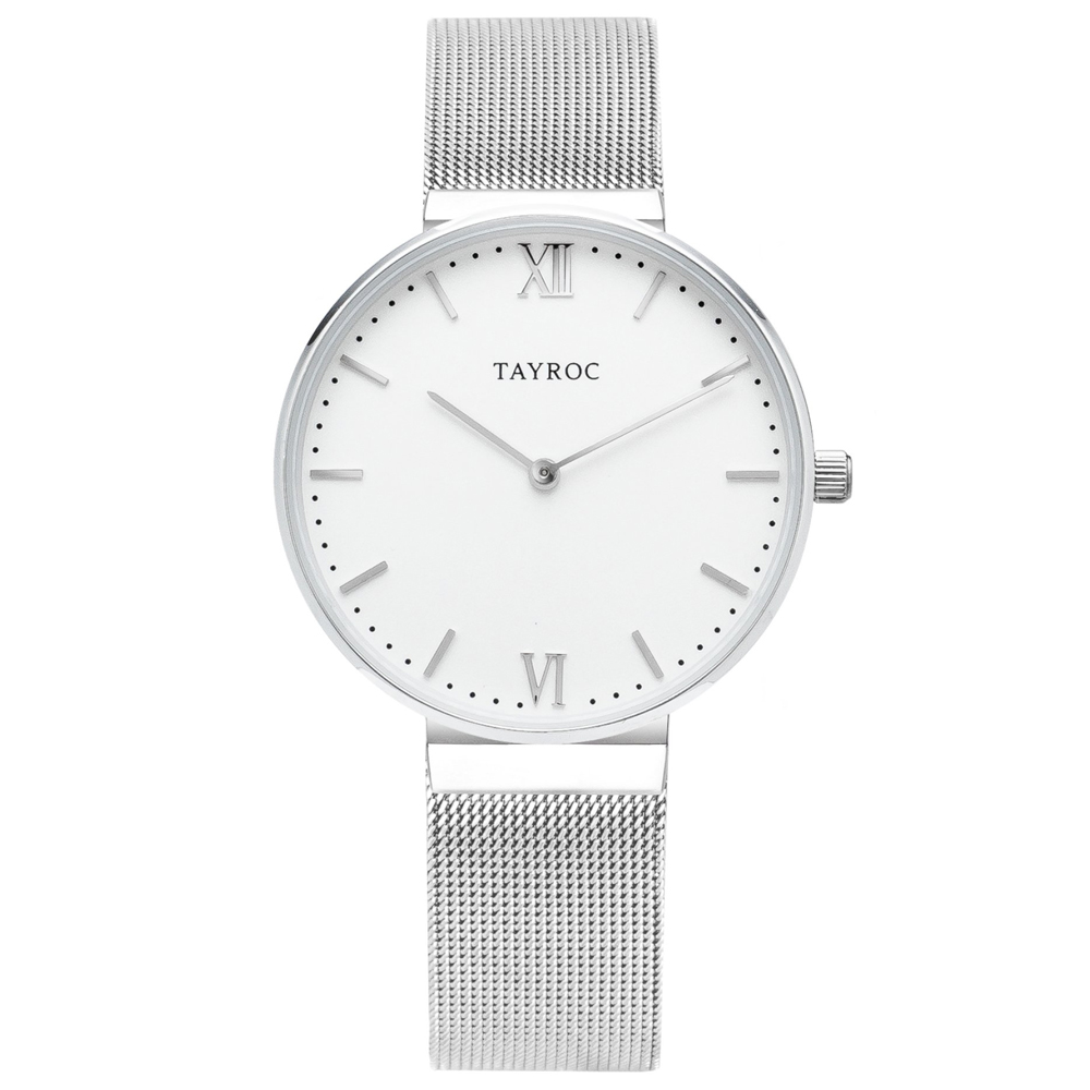TAYROC 英式簡約時尚米蘭帶手錶-白X銀/36mm