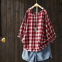 寬鬆格子棉麻t恤燈籠七分袖上衣-設計所在