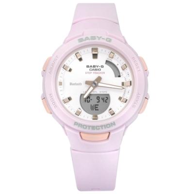 Baby-G CASIO 卡西歐 雙顯 藍牙連線 鬧鈴 防水 橡膠手錶-紫粉色/41mm