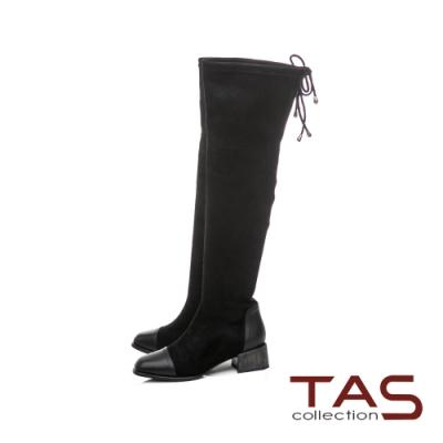 TAS抽繩彈力絨布膝上靴-人氣黑