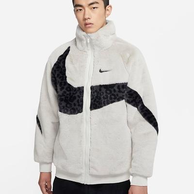 NIKE NSW BIG SWSH FUR JKT 男刷毛外套 - 白豹紋 - DH6685072