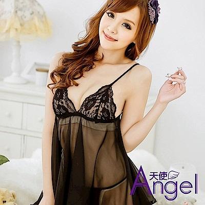 Angel天使 性感薄紗吊帶透明睡裙情趣內衣滾邊短裙+T褲 BP102